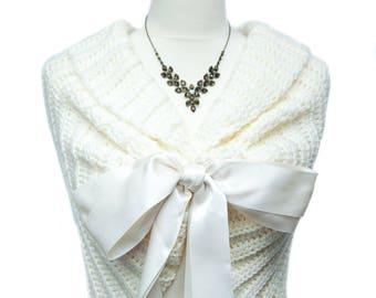 Bridal Shawl, Bridal Shrug, Ivory Shawl, Summer Wedding Shawl, Bridal Bolero, Crochet Shawl, Ivory Bridal Cover Up, Romantic Wedding Cape