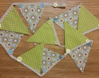 Embellished fabric bunting - green dots and blue blue flowers