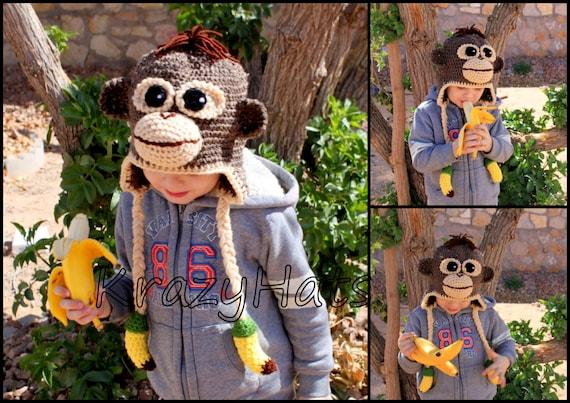 Hat.Handmade Monkey Affe Hut häkeln