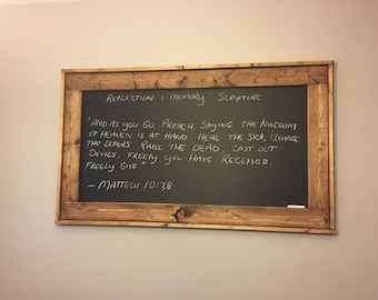 Large stained wood frame chalkboard