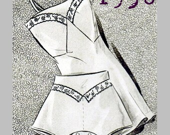 "1930's Lingerie Set (Bust 90cm/35"") - 1930's - Vintage Reproduction PDF Pattern -  made from original 1936 Pattern"