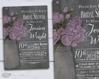 Bridal Shower Invitations, Printable DIY Country Wedding Shower Invites, Rustic Bridal Shower Invitations w/ Mason Jar & Purple Peonies