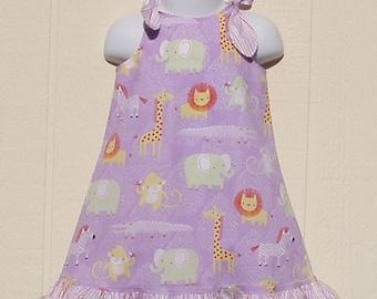 Tie Top Jungle Dress Size 12 Months, Baby Animal Dress, Cotton Dress