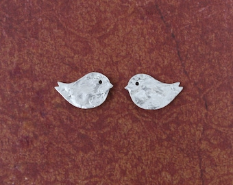 Silver bird studs with sterling silver posts and butterflies, girls earrings, bridesmaid earrings, cute bird earrings, lovebird earrings
