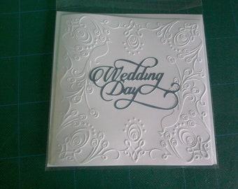 Handmade white embossed 6 x 6 Wedding Card Mr & Mr