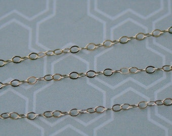 20 ft - 14K Gold Filled Chain, 1.4mm, Flat Cable Dainty Delicate Chain, Petite Chain