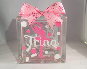 Girls Dancer/Ballerina Customized/Personalized Lighted Glass Block Nightlight (6-inch)