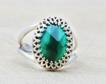 MOTHER'S DAY SALE - Silver malachite ring,gemstone ring,oval stone ring,faceted ring,silver rings,malachite jewelry,green ring