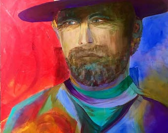 CLINT Eastwood original acrylic painting/can do custom portraits in this style!