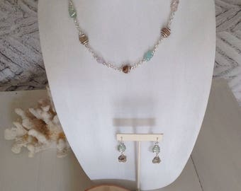 Sterling silver wire wrapped pastel Seaglass and beach pebble's necklace earring bracelet set