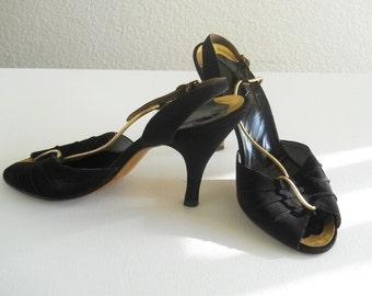 vintage 1950s black suede sling back sandals  *** PRICE REDUCED ***