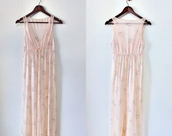 Peachy Pink Floral Maxi Vintage Lorraine Nightgown Sheer Sleeveless Size Small