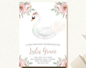 Swan Birthday Invitation   Girls First Birthday   Floral Blush Birthday Invite