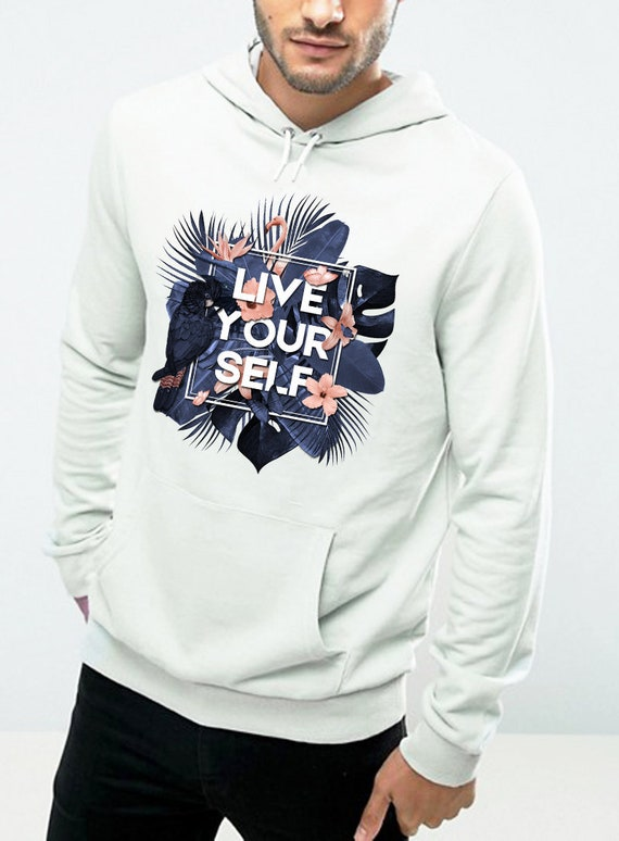 Live Your Self | Unisex Hoodie Sweatshirt | Tropical leaves | Parrots and butterflies | Motivational quote design | Indigo peach | ZuskaArt