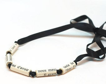Black Ribbon Necklace- Minimal Necklace, French Jewelry, Recycled Paper Bead Jewelry, Paper Jewelry, Paper Bead Necklace, Book Lover Gift