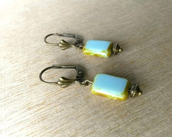 Small turquoise glass bead earrings