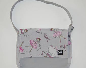 Gray kids Messenger bag - printed dancers