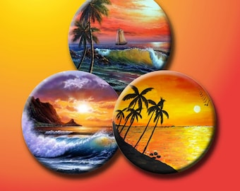 SUNSET BEACHES - Digital Collage Sheet 1 inch & 1.5 inch round images for bottle caps, pendants, round bezels, etc. Instant Download #103.