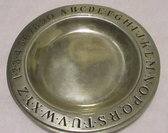 Vintage 1970's ABC 123 Wilton of Columbia Pennsylvania Childrens Plate 9 Inch Alphabet Numbers Counting Letters