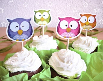 Cupcake Toppers -RainbOWLS-