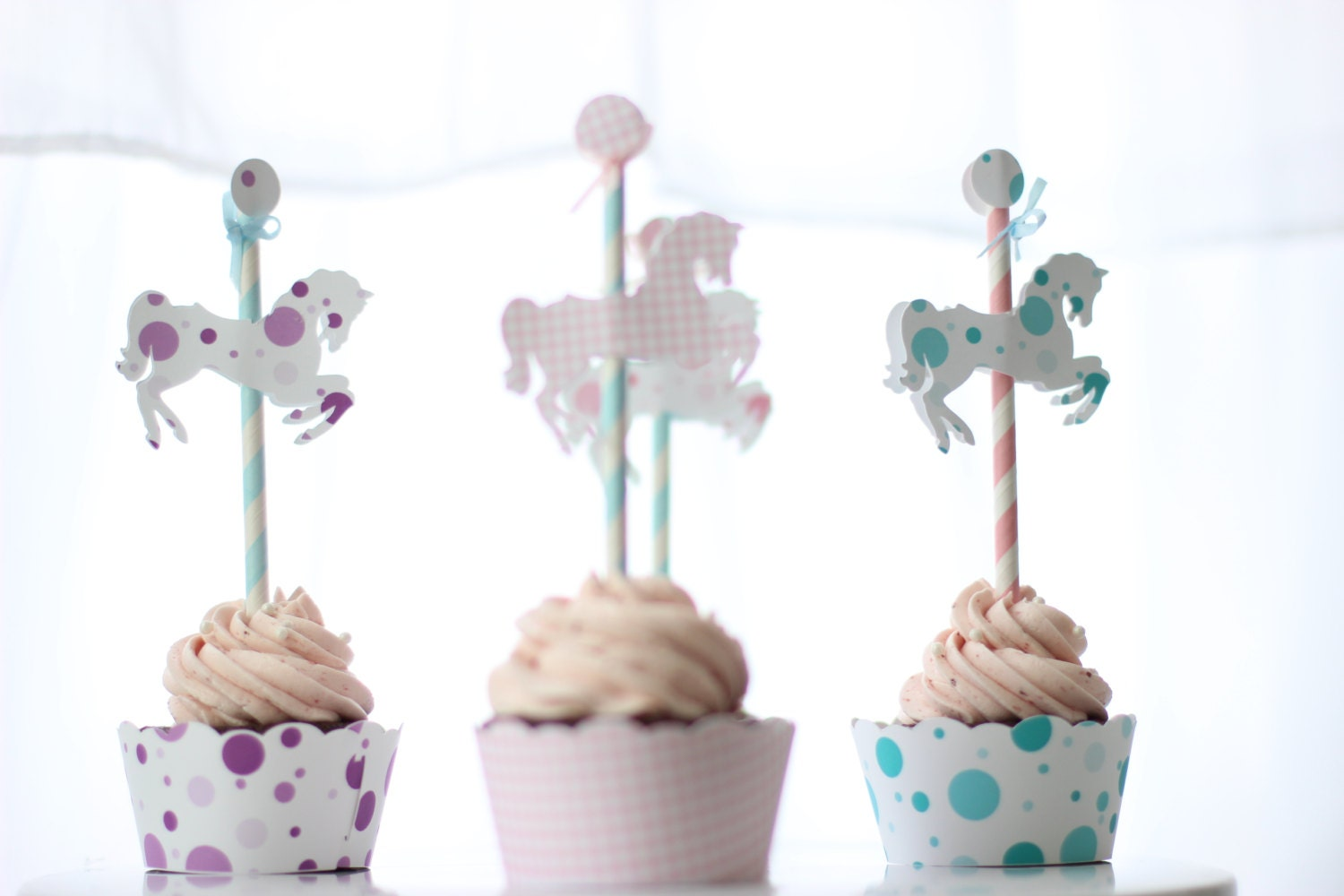 Merry Go Round Carousel Horse Cupcake Topper Pick Set Of 12