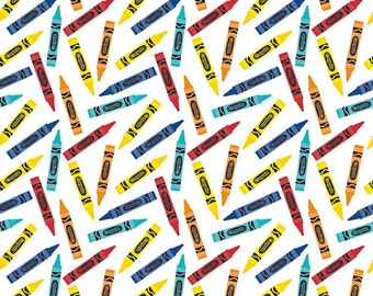 SALE All About Crayola Crayons White Rainbow - Riley Blake Designs - Jersey KNIT cotton lycra  stretch fabric - choose your cut