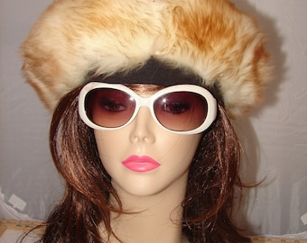 "H-20 Vintage Alpaca Sheep Fur Hat Beret Large 27"""