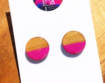 Resin Bamboo Round Stud Earrings. Unique. Surgical Steel