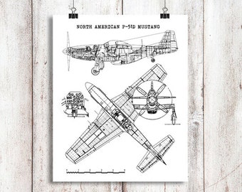Mustang blueprint etsy p 51 mustang wall art instant download north american mustang airplane p51 malvernweather Gallery