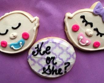 1 dozen Gender reveal favor sized cookies