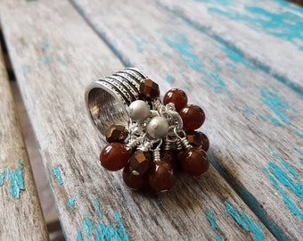 Brown Cluster Beaded Scarf Accessory, Decoration- Brown cluster beaded Scarf Bling