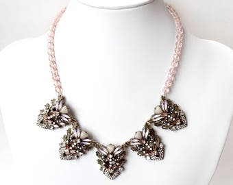 Necklace - Antique Gold and Blush Bib Necklace - Pale Pink, Opal White and Brass Statement Necklace - Bridesmaid - Art Deco