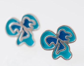 Sterling Silver  Resin  Flower Pansy Resinate Flor Stud Earrings Blues