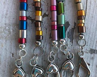 Knitting needle keychain/purse charm/zipper pull