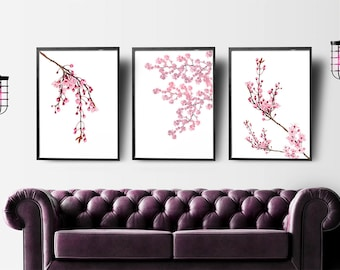 Cherry Blossoms Art, Set of 3 Prints, Gift for Wife, Botanical Print Set, Japanese Art, Bedroom Decor, Pink Home Decor