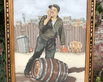 Original WPA Inspired Acrylic Painting of Working Man Rolling a Barrel in a Junkyard during the 30s or 40s.
