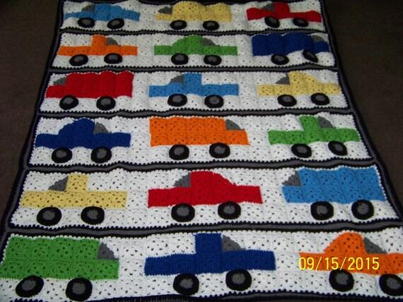 Cars Trucks And Vans Large Childrens Blanket Crochet