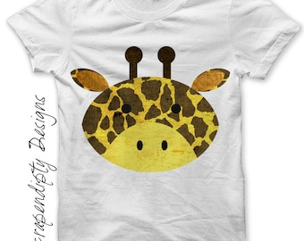 Giraffe Iron on Transfer - Animal Iron on Shirt PDF / Giraffe Shirt / Zoo Party Printables / Cute Kids Clothes / Infant Baby Clothes IT110-R