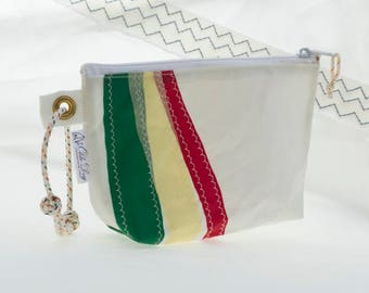 Recycled Sail, Clutch Wristlet, Red Yellow Green, sail cloth stripes, evening bag