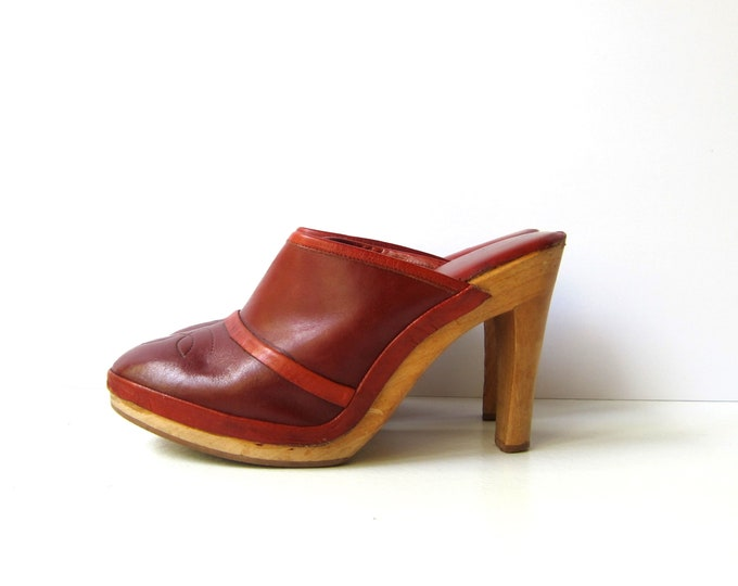 70s Red Leather Clogs