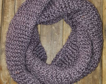 Knitted Mauve Infinity Scarf