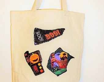 Halloween Theme Tote Bag for Candy, Crafts, Shopping, Holiday Gifts