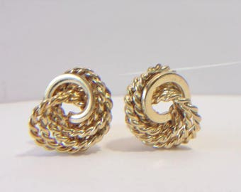 Monet Love Knot Clip On Earrings Vintage Rope Chain Twist Designer Signed Jewelry Fashion Accessories For Her