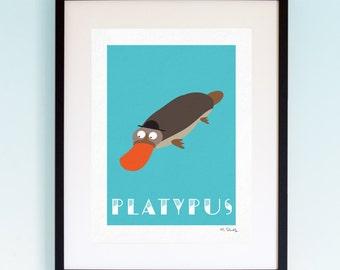 Platypus, Wildlife, Poster, Wall Art, Childrens, Nursery Print, Boys Girls Room Decor, Animal, Playroom, Native, Fauna, Australia, A4, A3