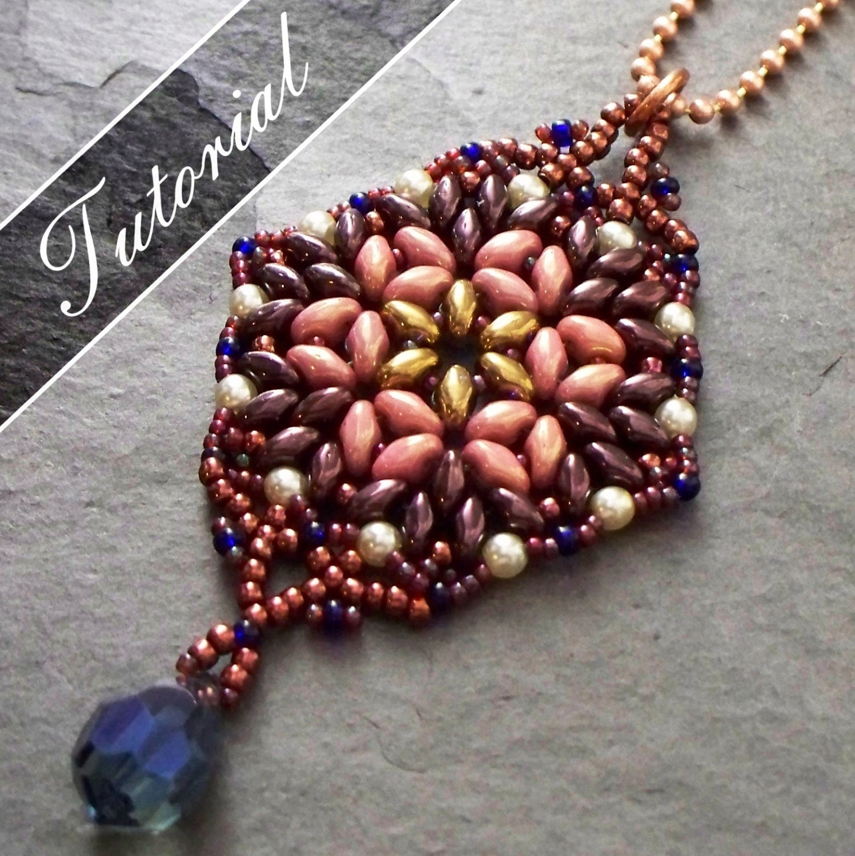 Bead Pattern, Bead Weaving Tutorial, Lotus Super Duo Bead Pendant ...