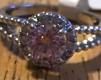 Pink and clear crystal ring