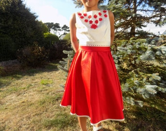 Dress girl, ceremonial dress, Christmas dress, 6 years old girl, girl 10 dress satin, red-white, red lace dress, fashion girl, birthday, party