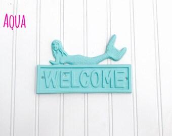 CLEARANCE  - Welcome Mermaid Sign - Mermaid Decor - Mermaids - Entryway Sign - Bathroom Decor - Bedroom Decor - Coastal Decor - Beach Decor