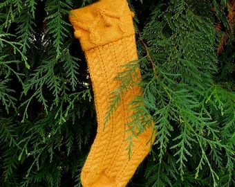Gold Christmas Garland Stocking wool mohair hand knitted