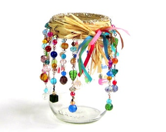 Beaded Mason Jar Candle Holder Luminary Bohemian Hippie Patio Backyard Deck Summer Party Hostess Gift